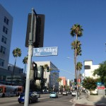 At the corner of Sunset Boulevard and L. Ron Hubbard Way